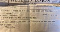 Telegram Elaine sent to mom after Kennedy was shot