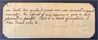 Handwritten Note found after Steinbeck Death