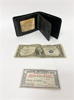 John Steinbecks Wallet with Business Card and $1