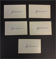 5 Hand Signed Signature Cards by John Steinbeck
