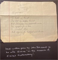 Handwritten poem by John for Elaines Hysterectomy
