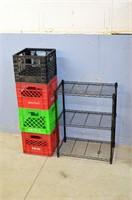 Small Wire Shelf and (4) Plastic Milk Crates