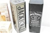 (2) Jack Daniel's Tins, Forty Creek Glass,
