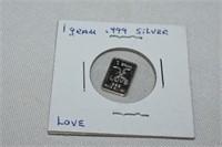 1 Gram .999 Silver Love Wafer