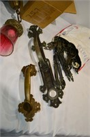 Box of Assorted Brass Light Fixtures,