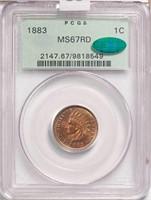 1C 1883 PCGS MS67 RD CAC