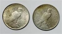 2 Peace Dollars 1922