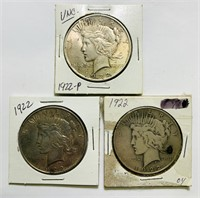 3 Peace Dollars, 1922