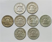 (8) Franklin Half Dollar Coins