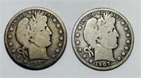(2) 1907 d Barber Half Dollar Coins