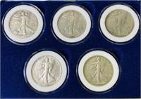 (5) WW2 Walking Liberty Half Dollar Set