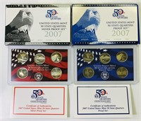 (2) 2007 US Mint 50 State Quarters Proof Sets