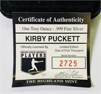 Kirby Puckett One Troy Ounce Fine Silver Coin