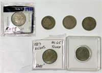 (6) No Cents Couns, 2 are 1883,
