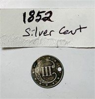 1852   3 Cent Silver w/hole