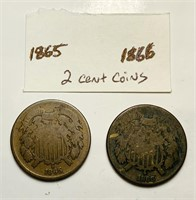 1865, 1866 Two Cent Coins