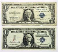 (2) 1957 One Dollar Silver Certificates