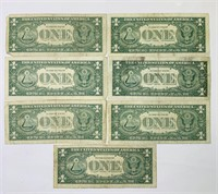 (7) 1957 B One Dollar Silver Certificates