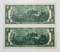 (2) 1976 First Day Issue Stamped $2 Bills