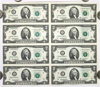Uncut Sheet of (8) 2003a Two Dollar Bills
