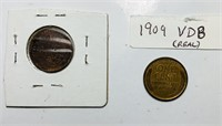 1909 VDB Lincoln Wheat Pennies, Real and Copy
