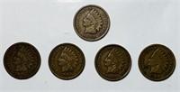 (5) Indian Head Pennies, 1901, 05,06,07,08