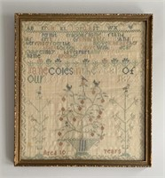 Rare Early Needle Point 1823 Sampler