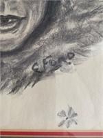 Inuit Art Charcoal Portrait on Paper