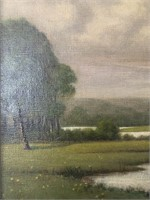 Oil on Canvas in The Style of Charles F Daubigny (