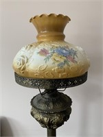 Antique Gilt Lamp With Hand Painted Shade