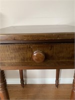 Antique Candle Table-Tiger Maple Drawer Front
