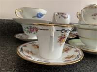 Grouping of 10 Fine Bone China Tea Cups/Saucers