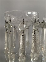 Pair of Fine Antique Clear Glass Lusters