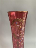 Antique Ruby Flash Hand Painted Flower Vase