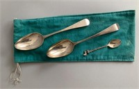Silver Serving Spoon (Marked) and Small Spoon