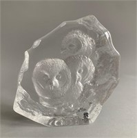 Swiss Mats Jonasson Full Lead Crystal Owl Art