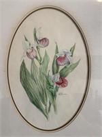 Watercolour of Lilies Signed C.K.Sigvzldason