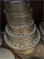 Large Mixed Dinnerware Set-Gold Rimmed