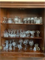 Lot of Many Clear Glass and Crystal Glasses