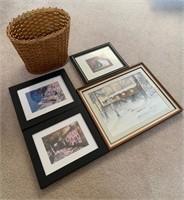 Lot of Framed Prints and Basket