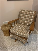 Cottage Chair and Wicker Covered Basket