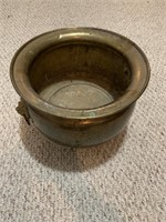 Large Brass Foot Pot with Lion Handles