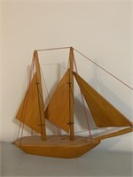 Pine Sailing Ship With Wooden Sails