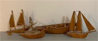 Group of Pine Carved Ships and Rowboat