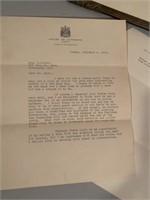 1928 House of Commons R,B Burnett Letter/Photo