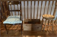 Group of Primitives-Apple Box-Chair-Stool Etc.