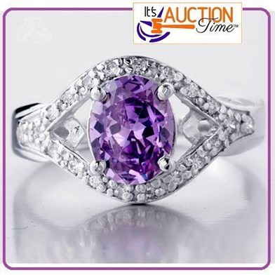 AMETHYST GEMSTONE SOLID SILVER 2.10CT RING SIZE 5 Other