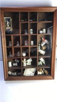 Wooden Shadow Box with Glass Door and ceramic
