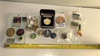 Various Metal and Enamel Lapel Pins