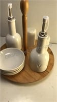 JP Designs Harmony Ceramic Table Set on wooden